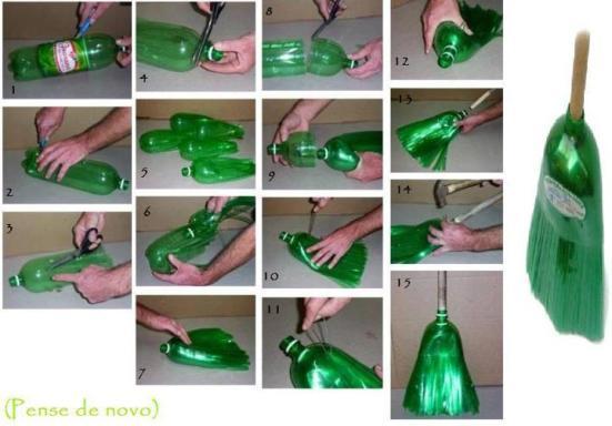 Reciclaje botella plastica en escoba